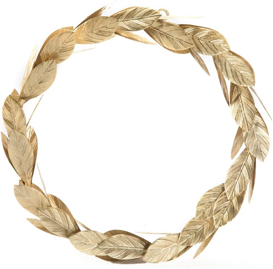 Gold Leaves Metal Wreath Wall Decor for Front Door,12 inch Door Wreath for Christmas,Window,Wedding,Party Decoration
