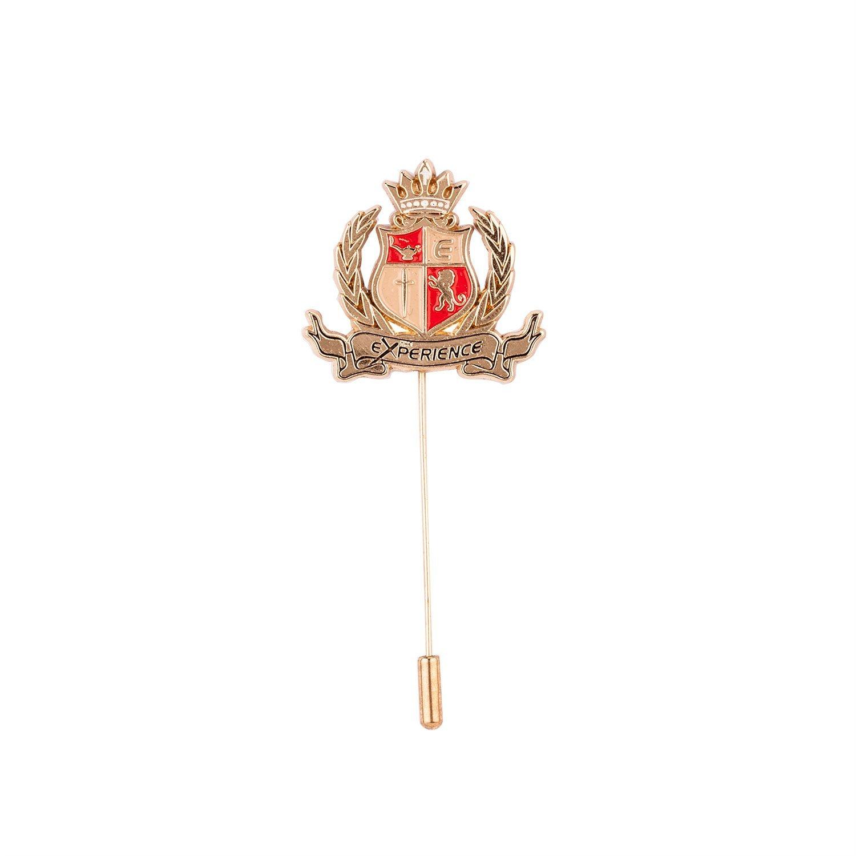 Dapper Homme Lapel Pins Boutonniere Metal Brooch for Suit Wedding PartyWear Tie Badge (Golden Royal Emblem)