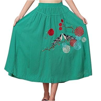 Hermosas mujeres falda larga falda Bohemia falda Verde De Color ...