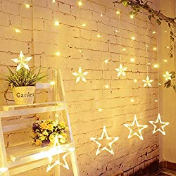 Slashome Star Curtain Lights,8 Modes,29V,with 12 Stars 138pcs LED Waterproof Linkable Curtain String Lights,Warm White String Light for Christmas/Halloween/Wedding/Party Backdrop,UL Listed