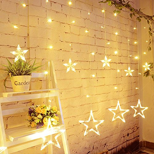 Slashome Star Curtain Lights, 8 Modes,29V,with 12 Stars 138pcs LED Waterproof Linkable Curtain String Lights, Warm White String Light for Christmas/Halloween/Wedding/Party Backdrop,UL Listed