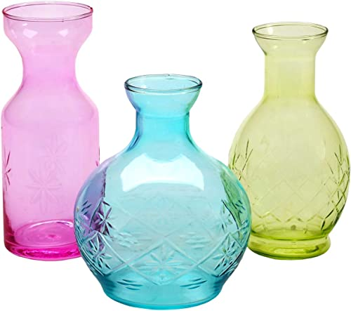 ART ARTIFACT 3 Piece Small Decorative Glass Vase Set – Pink, Aqua Blue and Green Jewel Tone Flower Holders