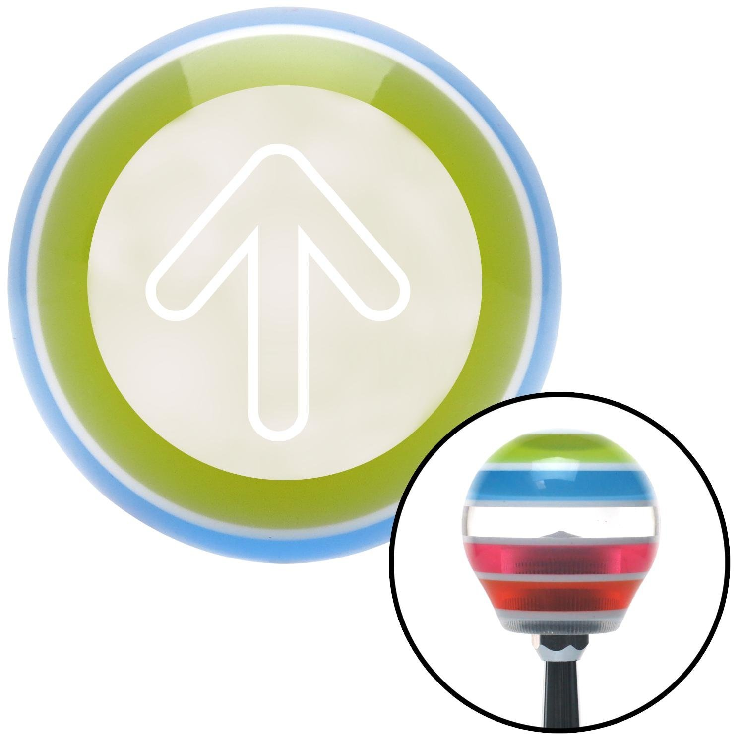 American Shifter 130895 Stripe Shift Knob with M16 x 1.5 Insert White Bubble Directional Arrow Up