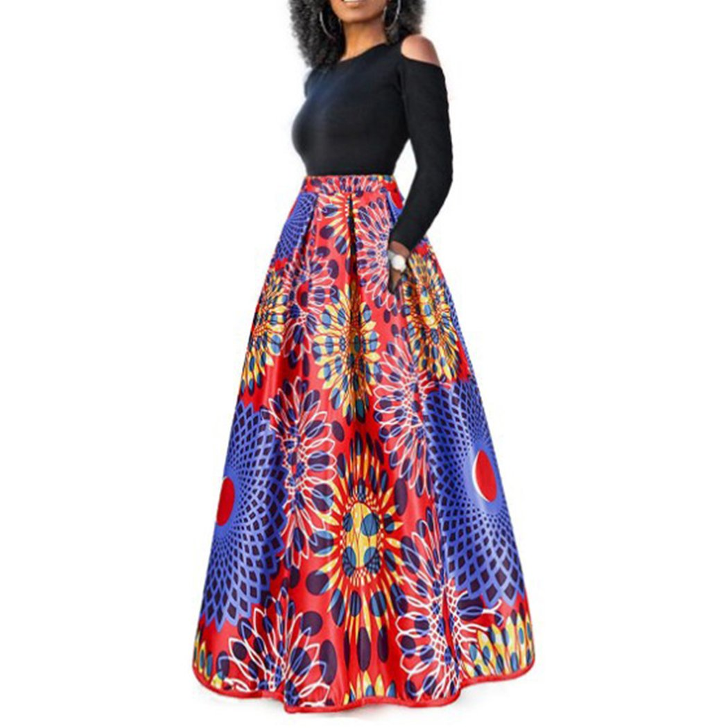 Raylans Women's African Floral Print Two Pieces A Line Long Skirt Maxi Dress Red Blue S