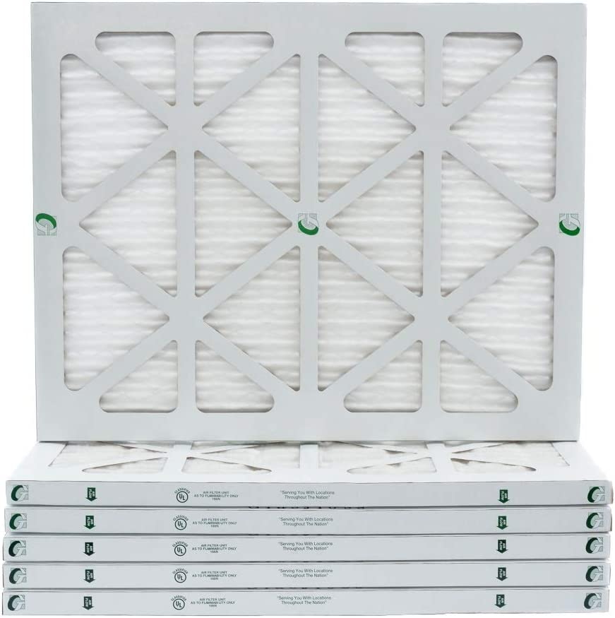 19 7//8 x 21 1//2 x 1 Payne Replacement MERV 10 Pleated Air Filters by Glasfloss Box of 6