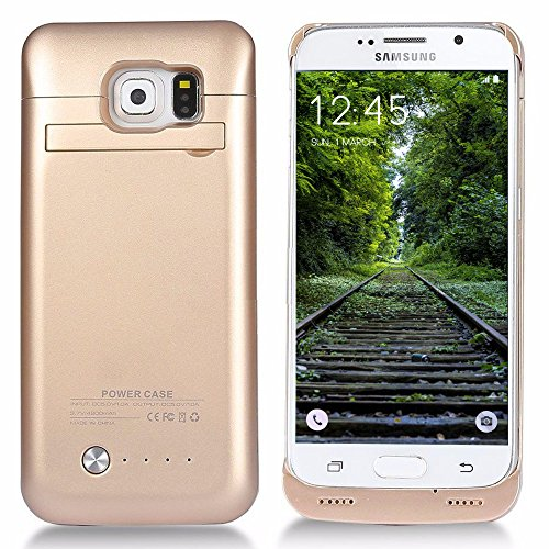 Galaxy S6 Battery Case, mega thin mobile or portable Rechargeable External Battery Backup potential Bank Charger condition Cover For Samsung Galaxy S6 together with Kickstand (Gold)