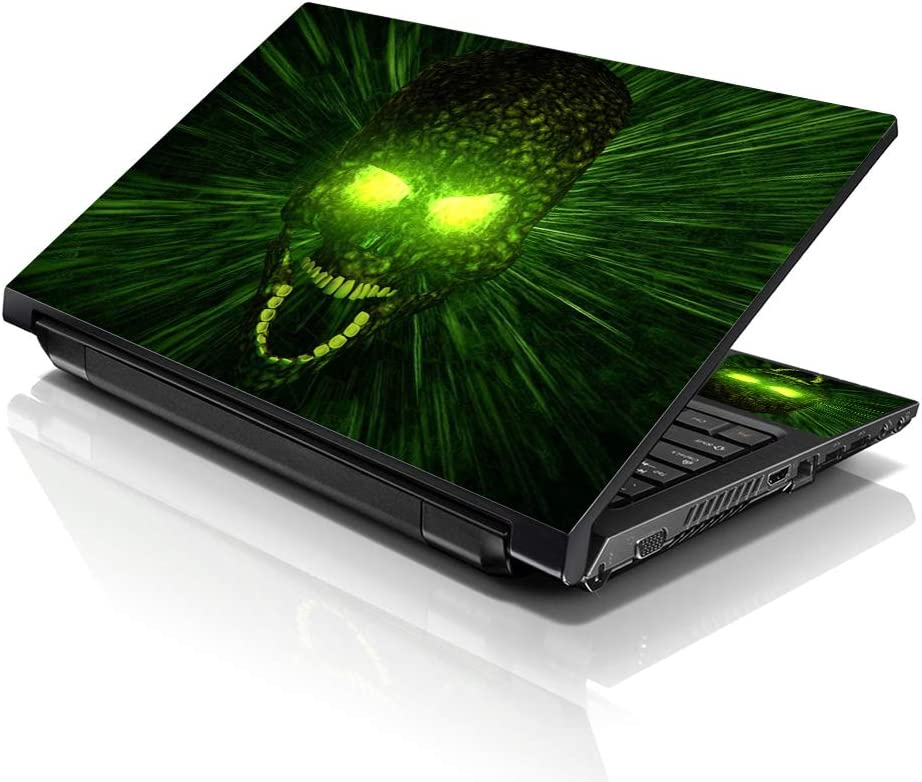 LSS Laptop 15 15.6 Skin Cover with Colorful Green Zombie Skul Pattern for HP Dell Lenovo Apple Asus Acer Compaq - Fits 13.3