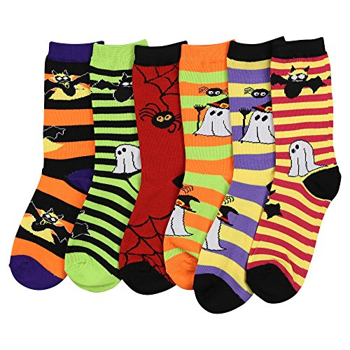 Womens Fun Colorful Crew Sock 6 Packs (Halloween