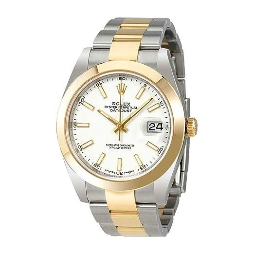 Rolex Datejust 41 blanco Dial Acero y 18 K amarillo oro Rolex Oyster reloj para hombre 126303 WSO: Amazon.es: Relojes