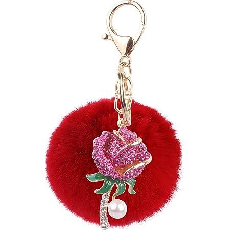 Llaveros de mujer Fluffy Red Ball Keychain, Rhinestone Rose ...
