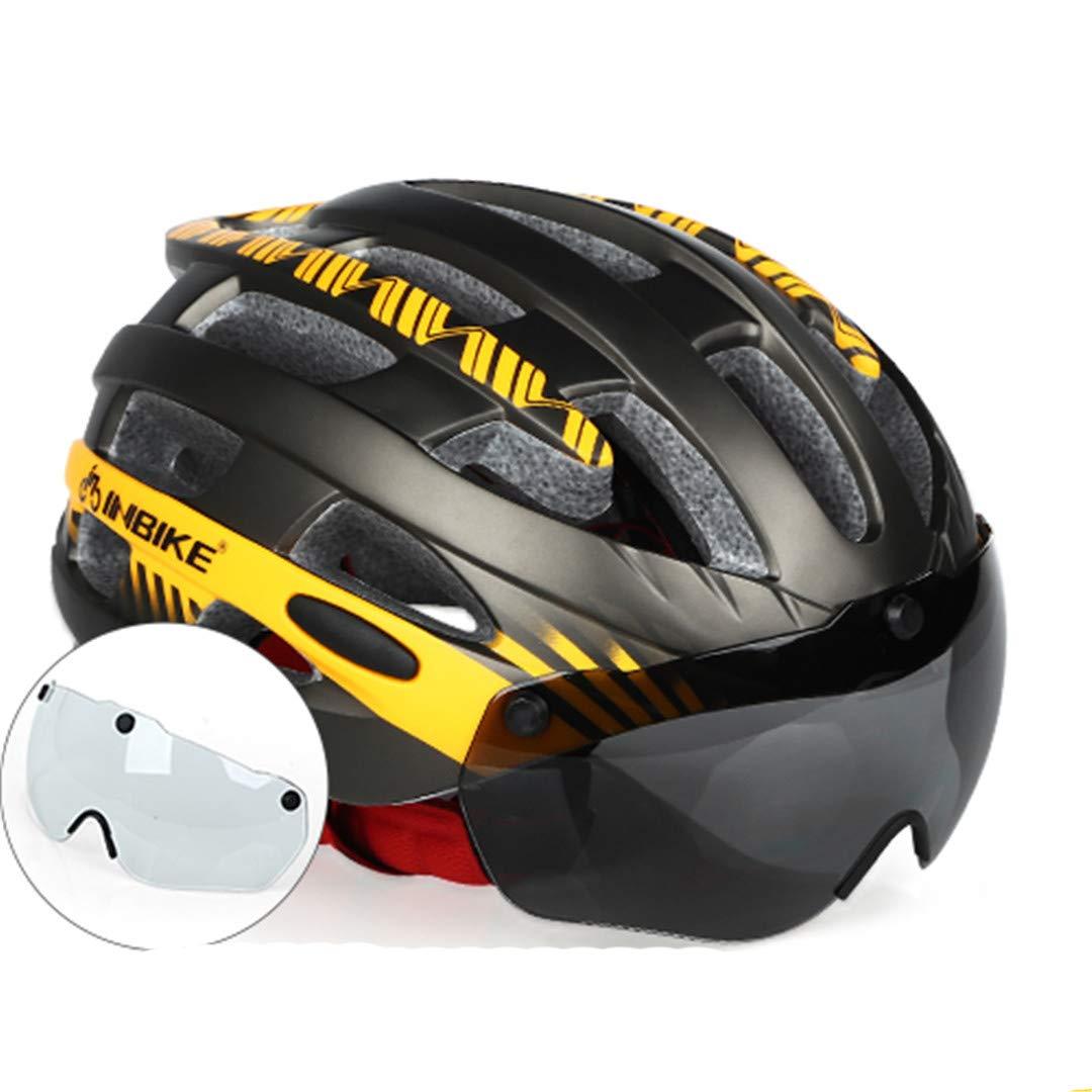 orange L 2 lens Cycling Helmet Ultralight Bike Helmet Men Mountain Road Women MTB Windproof Glasses Bicycle Helmet