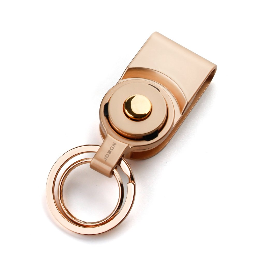 Bidear Car Key Chain Detachable, Quick Disconnect & Release Keychain with Heavy Duty Key Ring, Business Gift for Women Men(Gold)