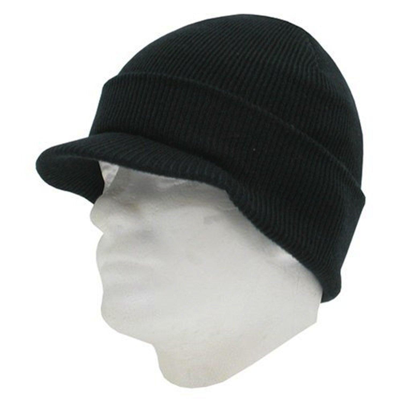 Decky Cuffed Knit Visor Beanie Jeep Cap (One Size, Black)