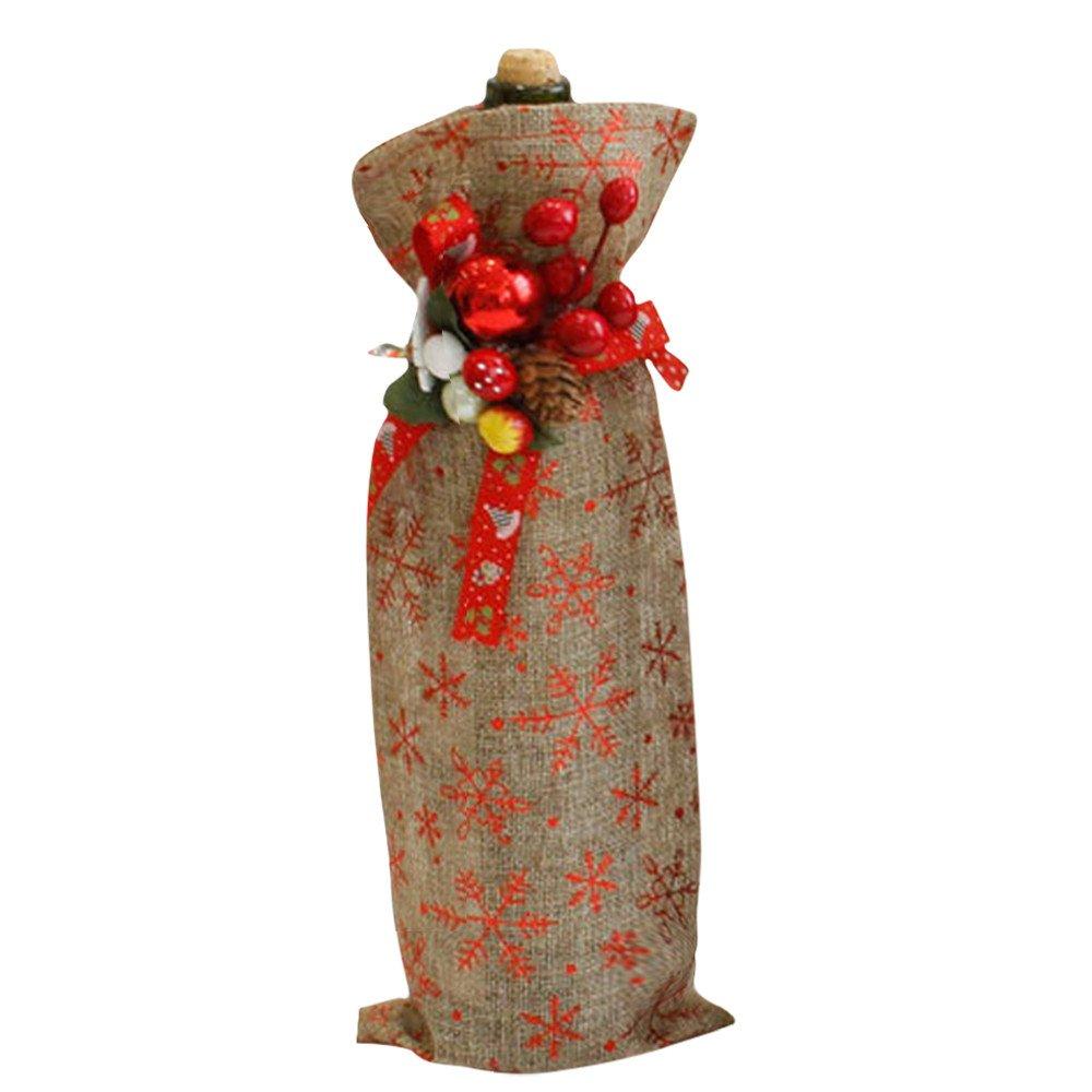 YIYEZI Christmas Wine Bottle Cover Decor Xmas Charming Wine Gift Dinner Party Cloth Ornament (C)