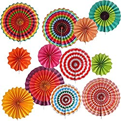 Paper Fans Party Decorations Supplies Favors 12 Pack for Carnival Kids Party Mexican Fiesta Wedding Graduation Party Backdrop Wall Decorations Paper Fans Hanging (12 Pack)