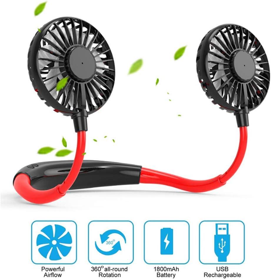 Portable USB Rechargeable Lazy Fan Hanging Neck Mini Cooling Sports Rest Fan BG