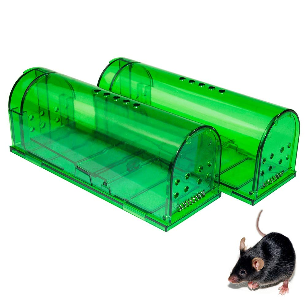 Humane Mouse Trap - Mouse Traps That Work - Best Mouse, Mice and Rat Trap - Plastic Traps Live Catch and Release Rodents, Safe Around Children and Pets (2Packs) by AKCHY