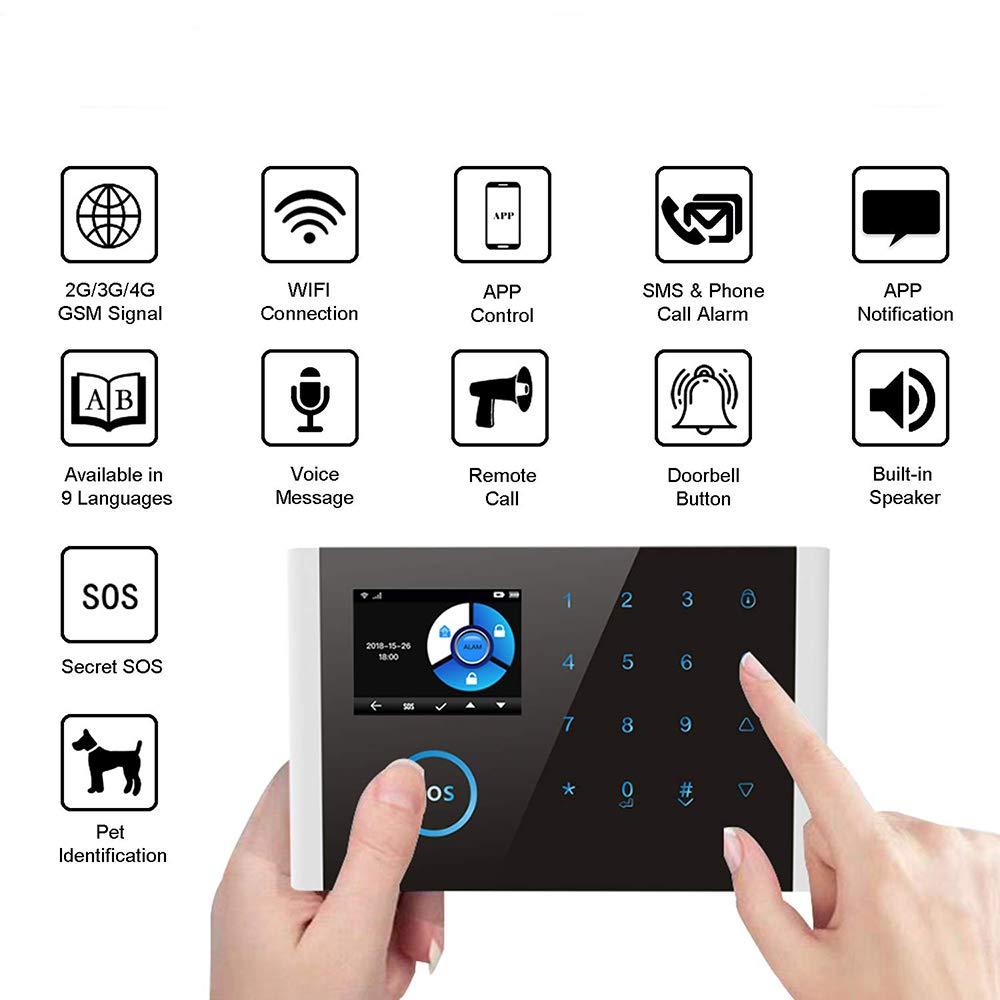 4G Sistemas De Alarma Inteligente De 2,4 Pulgadas Seguridad Alarma para El Hogar gsm WiFi iOS Android App Control Sistemas De Alarma WiFi Sistema De Alarma para El Hogar 3G