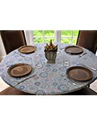 Nice Elastic Flannel Backed Vinyl Fitted Table Cover MULTI COLOR GEOMETRIC  Pattern   Large Round