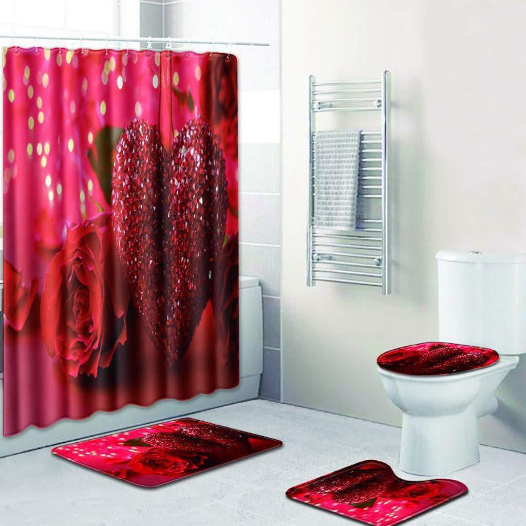 Love Style Shower Curtain Shower Mat Set 4 Toilet Cover Bathroom Base Carpet + Cover Toilet Cover + Shower Mat Mildew-Proof Shower Curtain