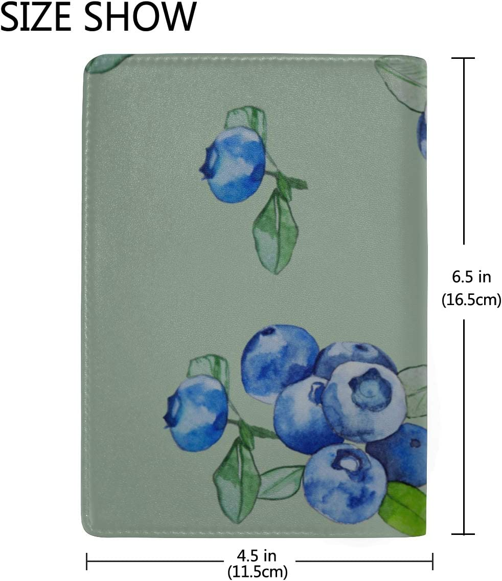 Passport Holder Wallet Cover Case Beautiful Natural Fresh Blueberries Stylish Pu Leather Travel Accessories Personalized Leather Passport Holder Cover For Women Men