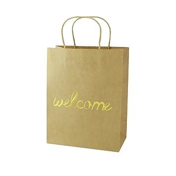 Amazon Com Foonea Set Of 12 Brown Kraft Paper Gold Foil Welcome