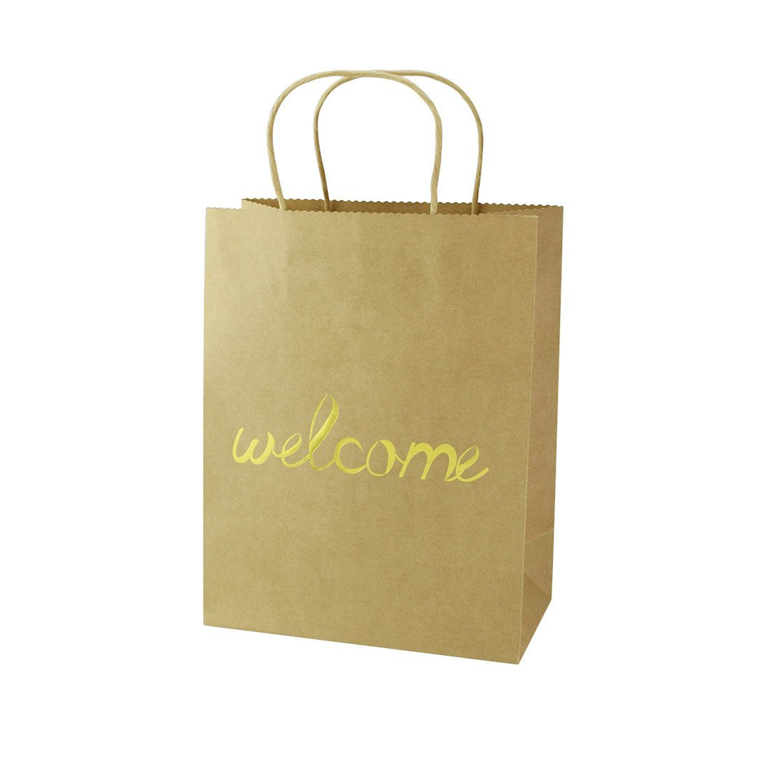 FOONEA Set of 12 Brown Kraft Paper Gold Foil Welcome Gift Bags for Destination Wedding Favors, Wedding Party Hotel Guests