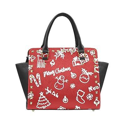 fad60a669869 Christmas Reindeer and Tree Women's Rivet PU leather Shoulder Bag ...
