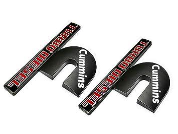 2pcs Cummins Turbo Diesel Emblems 3D Decal Badges High Output Replacement for Dodge Ram 2500 3500 Nameplate Emblem Mopar Black Red