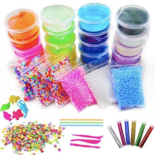 48 Piece Slime Kit for Making DIY Crystal Clear Rainbow Unicorn Slime 24 Colors Slime 6 Pack Foam Beads 5 Animal Molds Fruit Slices and Glitter Accessories for Boys and Girls for an Ultimate Slime Kit by Fun Frenzy (Image #8)