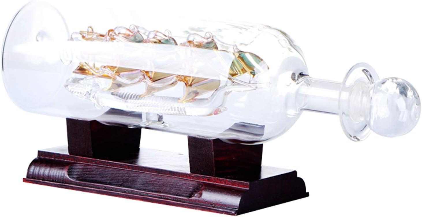 Botella de agua con diseño de barco de vela con decoración de cristal 3D de madera en botella de vino, botella de agua con base de madera, decoración de cristal en 3D en botella de vino.
