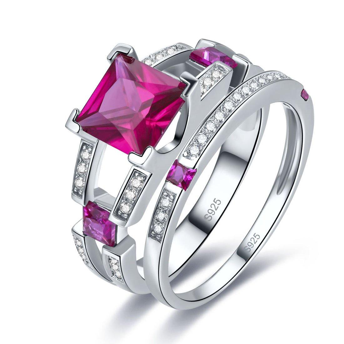 Merthus Womens 925 Sterling Silver Created Ruby Princess Wedding Bridal Ring Sets