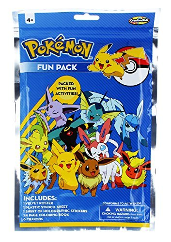 (Creative Kids Pokemon Activity and Fun Pack with 24 Page Coloring Book, 1 Velvet Poster, Small Stencils and 17 Holographic Stickers)