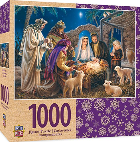 MasterPieces Seasonal Holiday Jigsaw Puzzle, A Child is Born, Christ in Manger, Featuring Art by Donna Gelsinger, 1000 Pieces