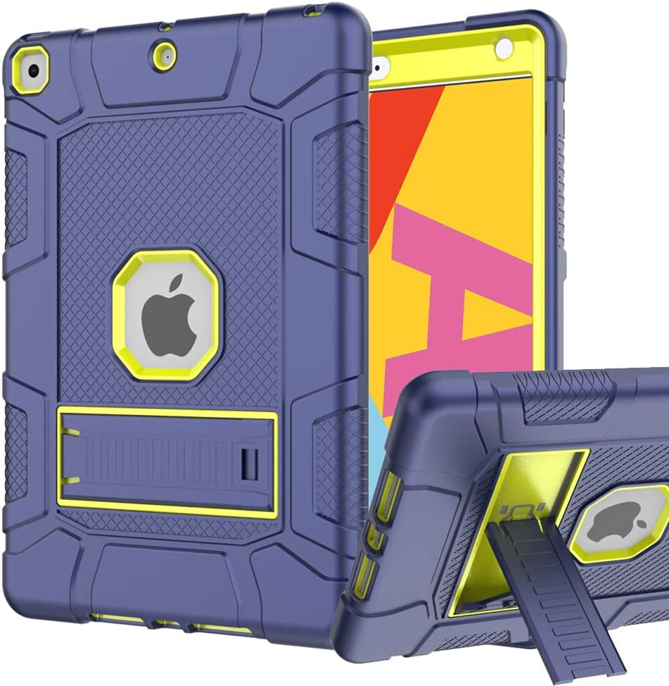 iPad 7th/8th Generation Case, iPad 10.2 Case, Hybrid Shockproof Rugged Drop Protection Cover Built with Kickstandfor iPad 10.2 Inch 7th/8th Generation 2019/ 2020 Release (Navy+Green)