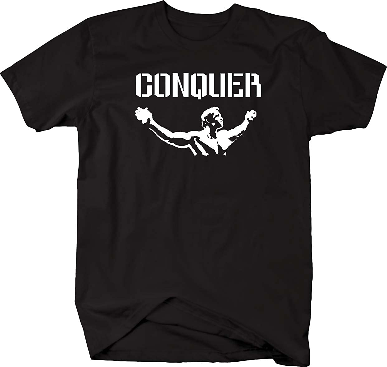 Arnold Quote Conquer Pose Gym Body Building Workout Mens T Shirt-4LVS