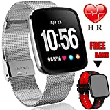 "[Gorilla Glass]1.3"" Smart Watch Fitness Tracker HR for Men Women Holiday Christmas Gift,IP68 Waterproof Watch Heart Rate/Blood Pressure Monitor,Calorie Counter,Message Reminder Smart Band Android IOS"