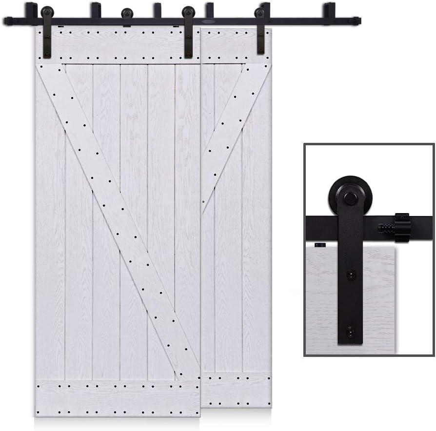 CCJH 10FT-305cm Bypass Herraje para Puerta Corredera Kit de Accesorios para Puertas Correderas Rueda Riel Juego para Dos Puertas de Madera: Amazon.es: Bricolaje y herramientas