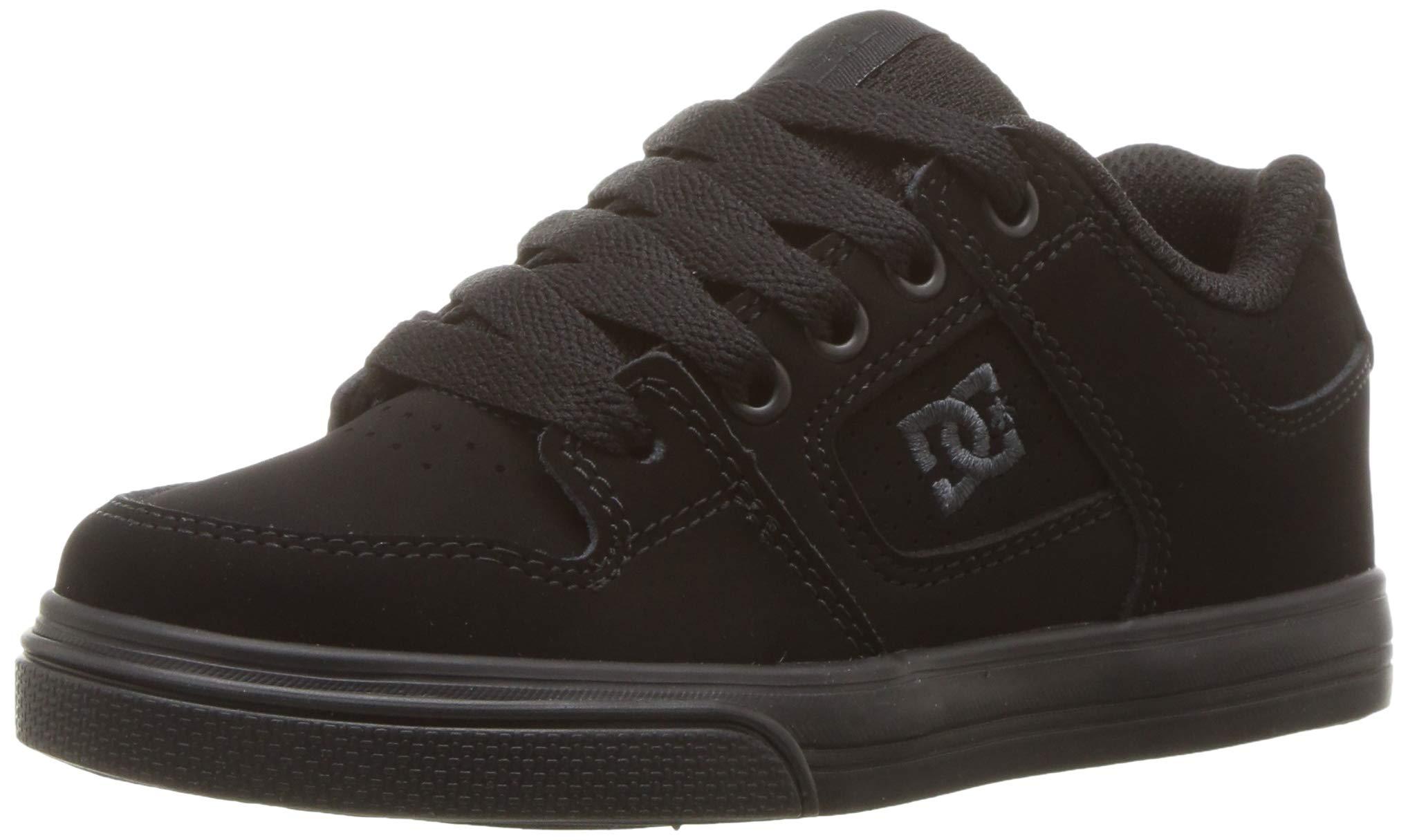 DC Pure Elastic Skate Shoe, Black, 5.5 M US Big Kid