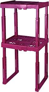 "Tools for School Locker Shelf with Adjustable Width 8"" - 12 1/2"" and Height 9 3/4"" - 14"". Stackable and Heavy Duty. Ideal for School, Work and Gym Lockers. Double (Magenta)"
