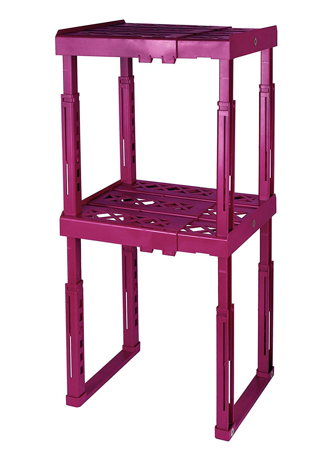Tools for School Locker Shelf. Adjustable Height and Width. Stackable and Heavy Duty. Holds 40 lbs. per Shelf (2 Pack, Magenta) by Tools for School (Image #1)