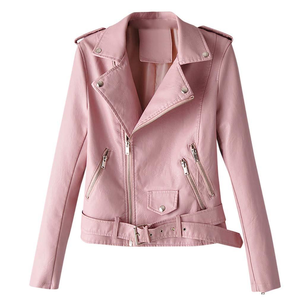 〓COOlCCI〓Women's Leather & Faux Leather Jackets & Coats,Zipper Moto Biker Short Coat Jacket with Pockets Windbreaker Tops by COOlCCI_Womens Clothing