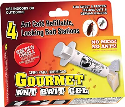 Gourmet Ant Bait Gel Kit with 4 Refillable Ant Cafe Bait Stations