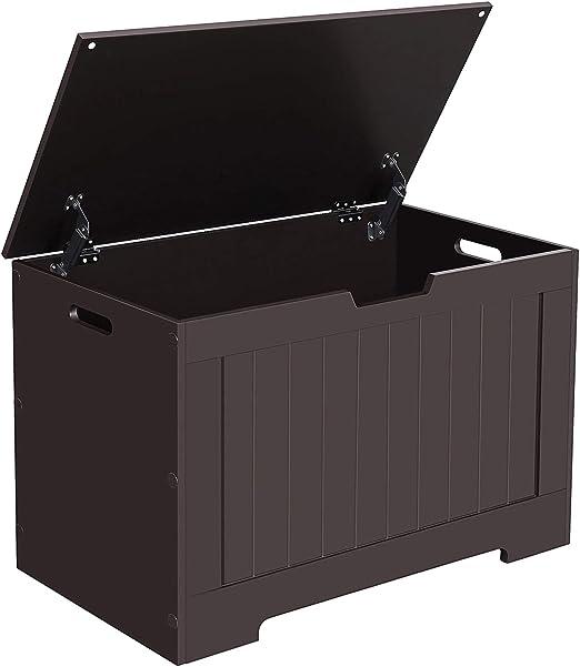 Kids White Finish Wooden Toy Box Chest Storage Bench Trunk Play Room Organizer