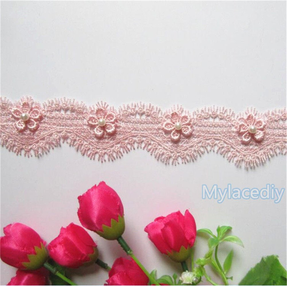 2 Yard Flower Pearl Eyelash Lace Edge Polyester Trim Ribbon 4 cm Width Vintage Style Pink Edging Trimmings Fabric Embroidered Applique Sewing Craft Wedding Bridal Dress DIY Clothes Embellishment