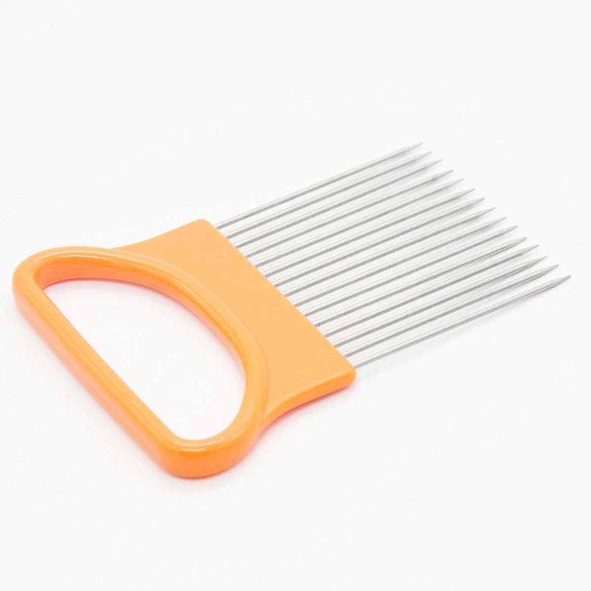 Tacoli- Kitchen Gadgets Handy Stainless Steel Onion Cutter Holder Potato Tomato Slicer Vegetable Fruit Cutter Safety Cooking Tools (ORANGE)