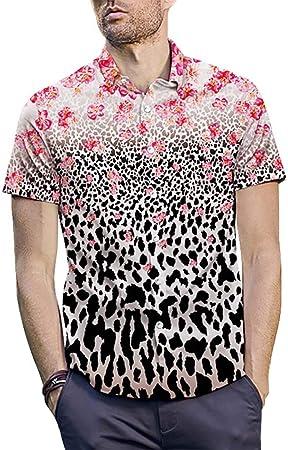 WODENINEK Moda para Hombre La Camisa Manga Corta Estampado de Leopardo Blusa Casual Slim Fit El Verano Estampado Floral Camiseta,L: Amazon.es: Hogar
