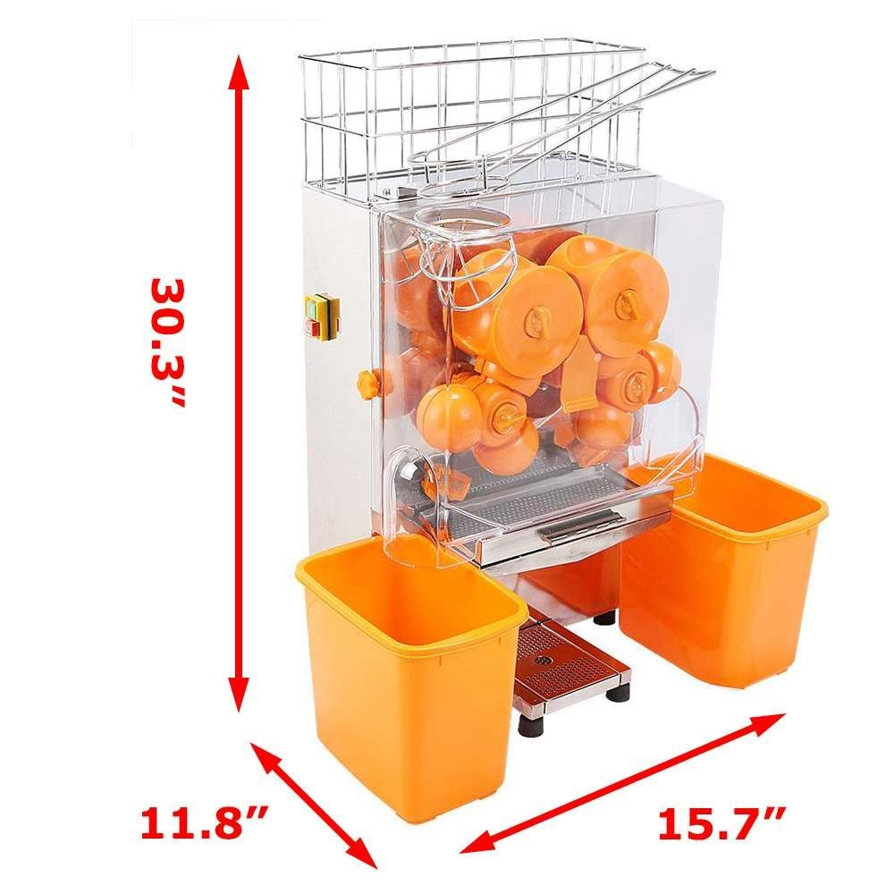 VEVOR 110V Electric Orange Juicer Commercial Squeezer Machine Lemon Automatic Auto Feed Perfect for Drink Bar and Home Supermarkets, 22-30 Per Minute, Plastic Tank PC Cover