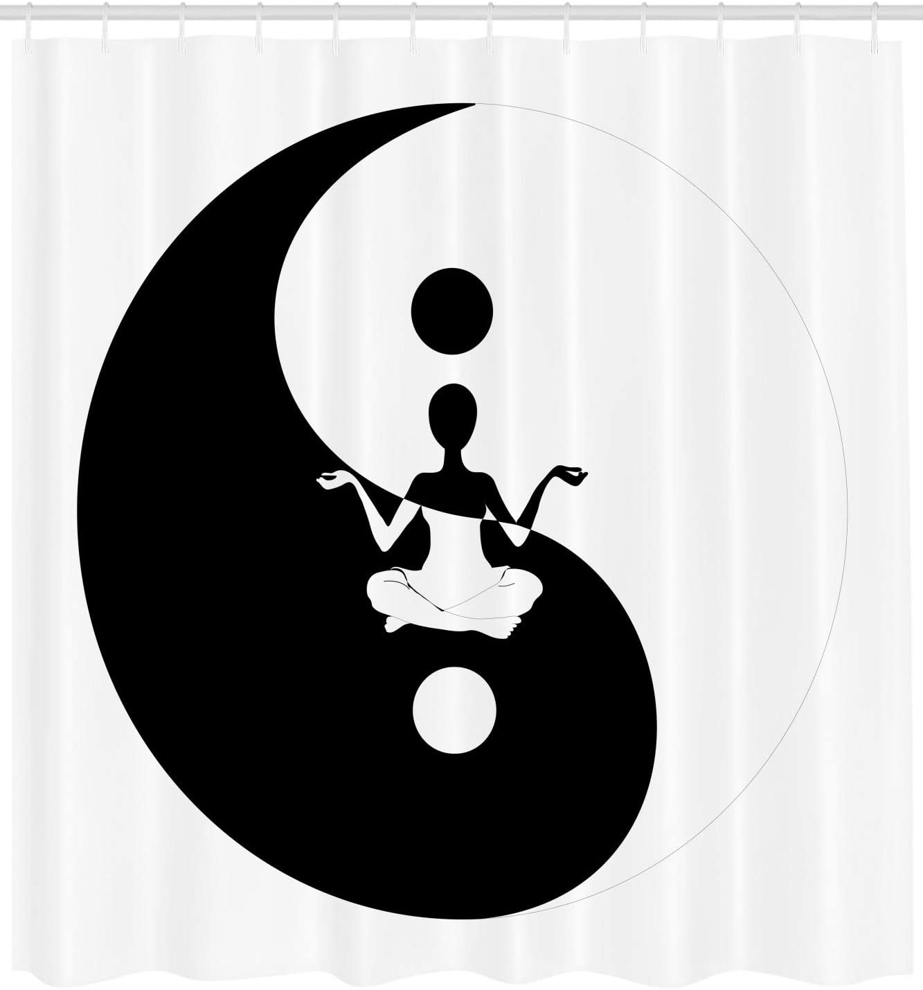 Ambesonne Yin Yang Shower Curtain Human Silhouette Doing Yoga Staying In Balance With Lotus Pose For Serenity Cloth Fabric Bathroom Decor Set With Hooks 75 Long Black And White Home Kitchen Amazon Com