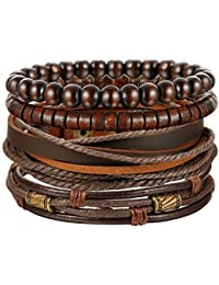 4-6Pcs Braided Leather Bracelet for Women Mens Cuff Bead Bracelet Set Adjustable Black and Brown